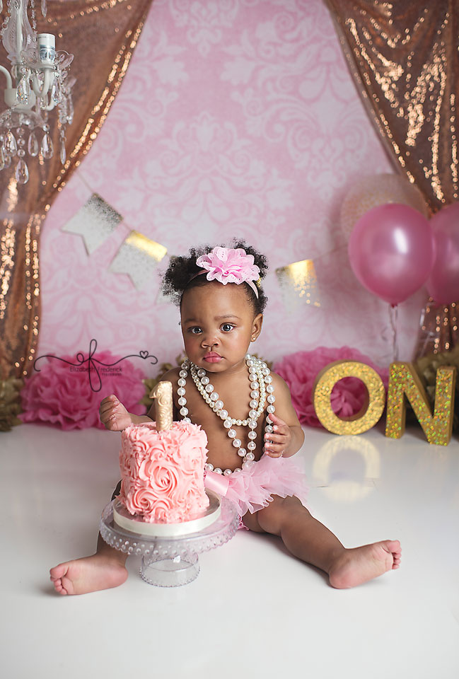 Rose Gold and Gold Smash Cake Photography session | Wethersfield CT Smash Cake Photographer